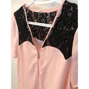 Pink Blouse w/ Black Lace